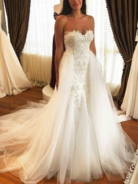 Watteau Train Appliques Wedding Dress 2019 & Wedding Dresses from china