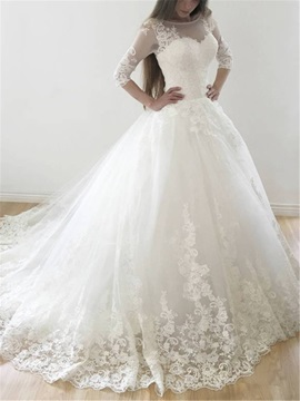 Half Sleeves Bateau Neck Appliques Ball Gown Wedding Dress 2019