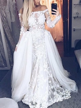 Watteau Train Long Sleeve Appliques Wedding Dress 2019