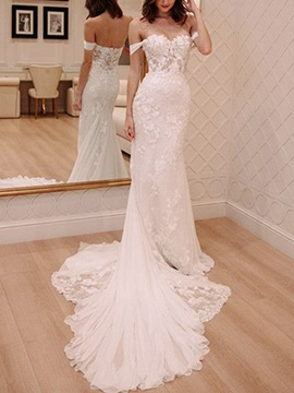 Off-The-Shoulder Mermaid Button Lace Wedding Dress 2019