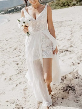 Split-Front Sequins Beach Wedding Dress 2019