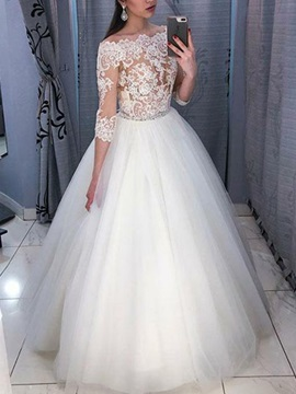 Off-The-Shoulder 3/4 Length Sleeves Appliques Wedding Dress 2019