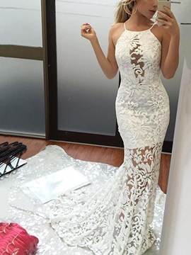 Sexy Halter Lace Mermaid Wedding Dress 2019