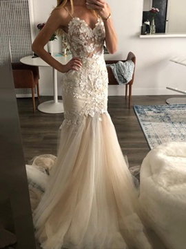 Spaghetti Straps Appliques Sleeveless Trumpet Hall Wedding Dress 2019