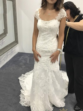 Cap Sleeves Appliques Mermaid Court Church Wedding Dress 2019