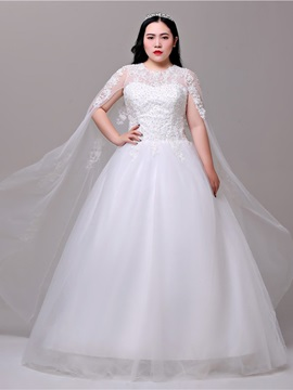 Watteau Train Beading Appliques Plus Size Wedding Dress 2019
