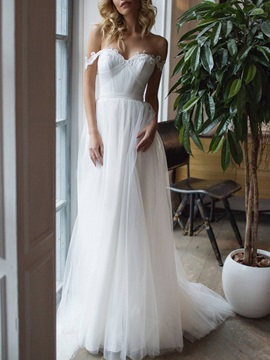 Pleats Sweep A-Line Floor-Length Hall Wedding Dress 2019