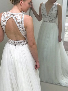 Sequins Lace Backless Beach Wedding Dress 2019