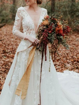 Beading V-Neck Appliques Long Sleeves Wedding Dress 2019