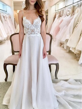 Lace Spaghetti Straps Beach Wedding Dress 2019