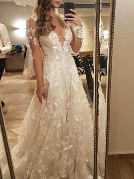 Deep V-Neck Appliques Long Sleeve Wedding Dress 2019