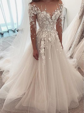 Illusion Neck Flowers Beading Wedding Dress 2019