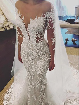 Backless Long Sleeve Appliques Beading Mermaid Wedding Dress 2019