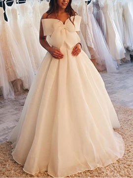 A-Line Strapless Sleeveless Bowknot Hall Wedding Dress 2019
