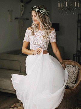 Two Piece Button Off-The-Shoulder Beach Wedding Dress 2019 & colorful Wedding Dresses