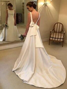 Sleeveless Bateau A-Line Bowknot Garden Wedding Dress 2019