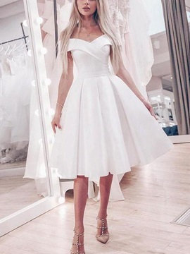 Off-The-Shoulder A-Line Knee-Length Garden Wedding Dress 2019