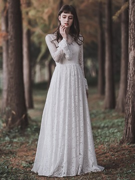 Scoop Long Sleeves Floor-Length Lace Garden Wedding Dress 2019