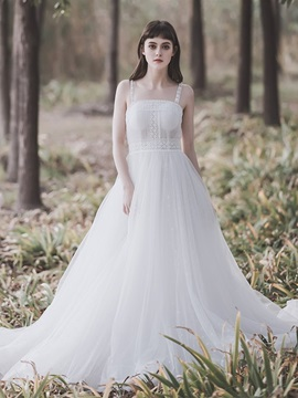 A-Line Straps Pick-Ups Floor-Length Church Wedding Dress 2019