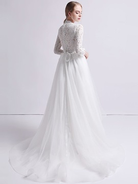 3/4 Length Sleeves Asymmetry A-Line Lace Beach Wedding Dress 2019