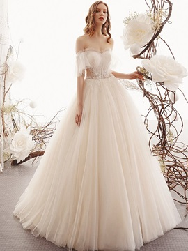 Half Sleeves Floor-Length Ball Gown Beading Hall Wedding Dress 2019