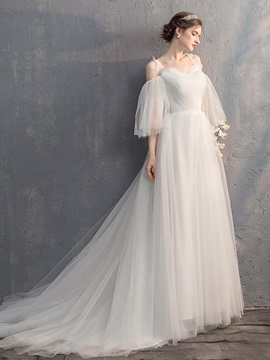 Spaghetti Straps 3/4 Length Sleeves Pick-Ups Floor-Length Garden Wedding Dress 2019