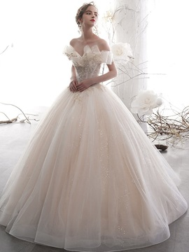 Floor-Length Ball Gown Appliques Short Sleeves Garden Wedding Dress 2019