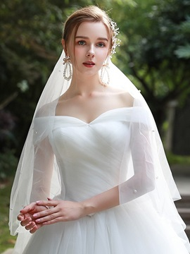 Ball Gown Court Pick-Ups Short Sleeves Hall Wedding Dress 2019