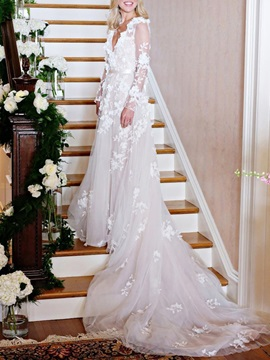 Chapel Flowers A-Line Long Sleeves Church Wedding Dress 2019