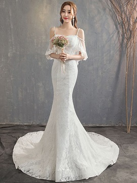 Half Sleeves Spaghetti Straps Appliques Sweep Hall Wedding Dress 2019