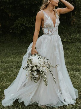 Appliques V-Neck Sashes Garden Wedding Dress 2019
