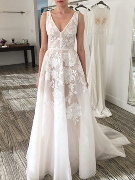 A-Line Appliques Lace Wedding Dress 2020