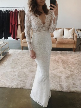 Split-Front Long Sleeves Sheath Lace Wedding Dress 2020 & Wedding Dresses for sale