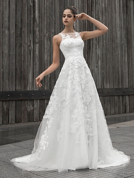 Straps Button Lace Appliques Wedding Dress 2020