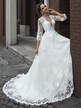 3/4 Length Sleeves Appliques Lace Wedding Dress 2020