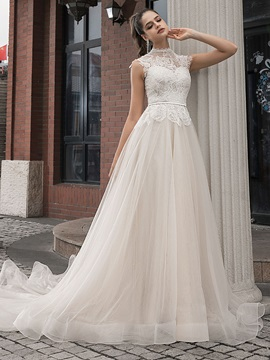 High Neck Cap Sleeves Lace Wedding Dress 2020
