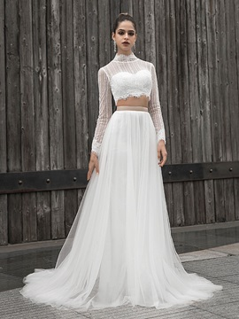 Two Pieces High Neck Sashes Lace Wedding Dress 2020