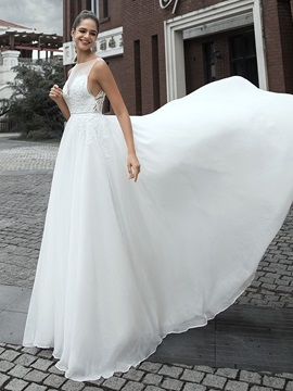 Bateau Neck Beading Appliques Beach Wedding Dress 2020