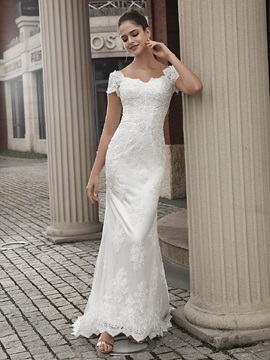 Short Sleeves Appliques Mermaid Wedding Dress 2020