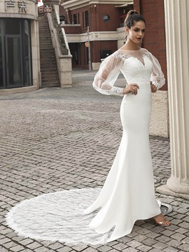 Long Sleeves Appliques Lace Mermaid Wedding Dress 2020