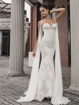 Sweetheart Mermaid Lace Wedding Dress with Cape