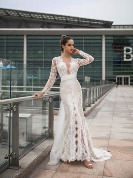 Sashes Split-Front Lace Long Sleeves Wedding Dress 2020