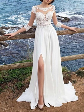 3/4 Length Sleeves Button Appliques Beach Wedding Dress 2020