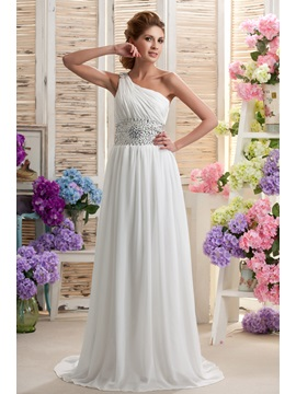 Amazing Chapel Empire Floor-length One-shoulder Beaded Nastya's Wedding Dress & Wedding Dresses under 300
