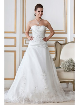 Gorgeous A-Line Sweetheart Strapless Chapel Train Embroidery Sandra's Wedding Dress & Wedding Dresses from china