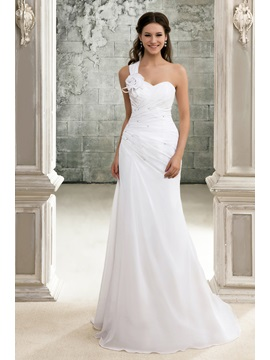 One-Shoulder Pleats Flower Beach Wedding Dress