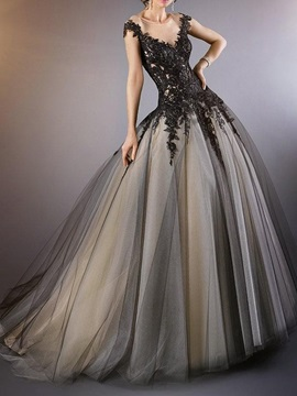 Short Sleeves Ball Gown Embroidery Floor-Length Black Evening Dress