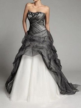 Court Strapless Trumpet Mermaid Sleeveless Black Evening Dress