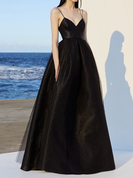 Floor-Length V-Neck A-Line Sleeveless Black Wedding Party Dress