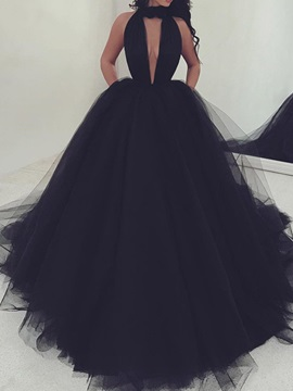 Court Ball Gown Halter Sleeveless Black Evening Dress